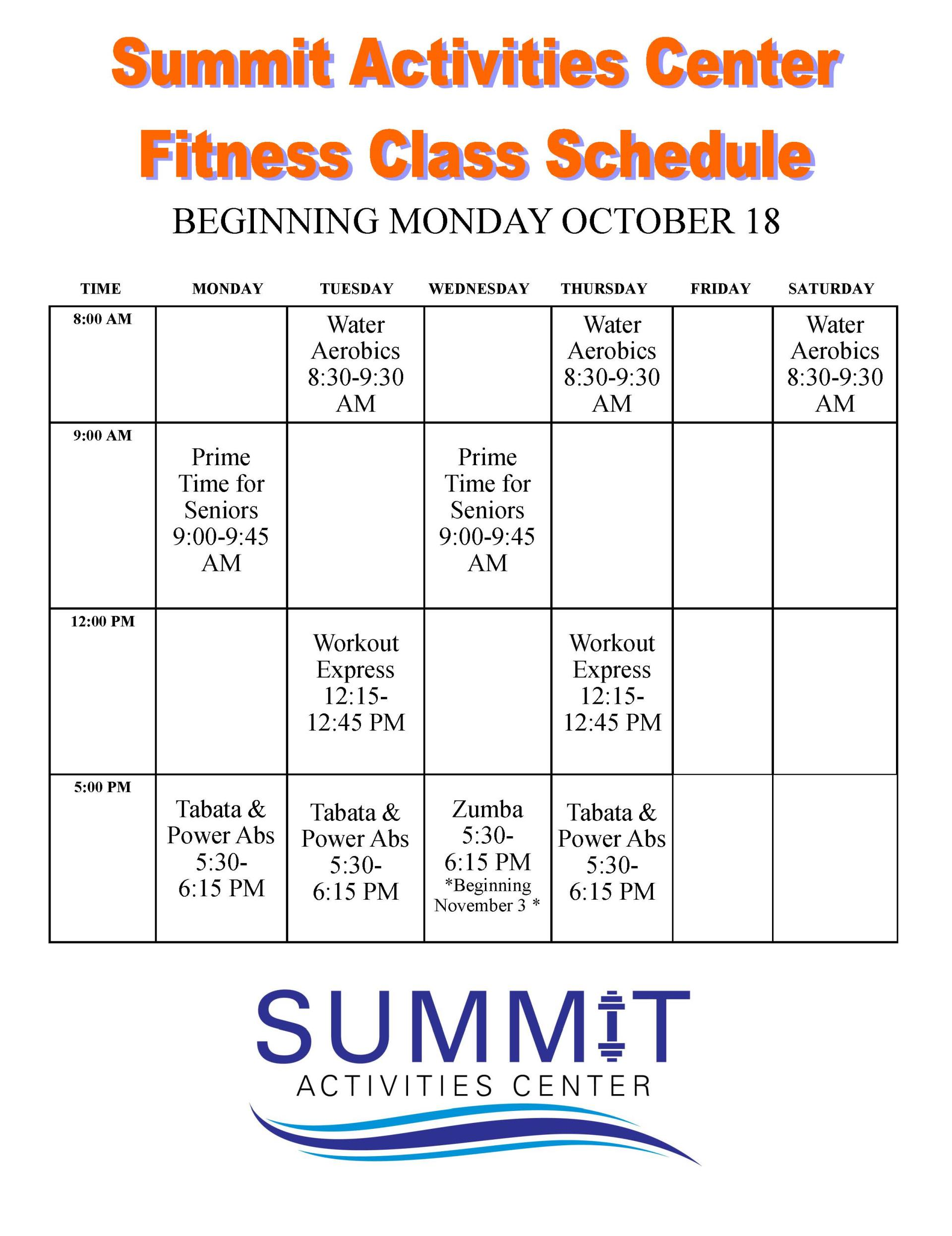 Fitness Program Fall 2017